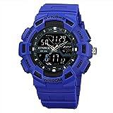 Kaitoly Herren Outdoor Sport Armbanduhr Bergsteiger Uhr LED Digital Double Action Uhr Multifunktions-Uhr 50 m Wasserdicht, blau