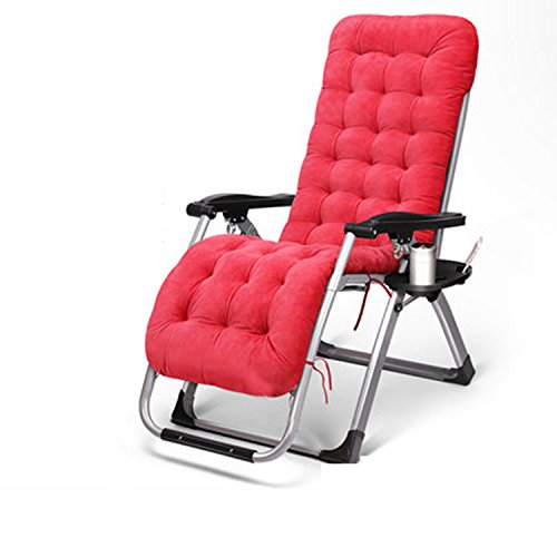 Silla plegable Recliners Nap Sommiers Sillas de Oficina Sillas reclinables (Color : Rojo)