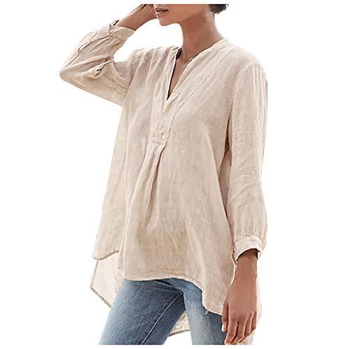 Feytuo Frau Bluse, Middle-Kanal T-Shirt Plus Größe übersteigt Loses Baumwollhemd Blumenstrand Chic Plus Größen-beiläufiges Hemd Sommer aushöhlen Bluse zufällige Spitze T-Shirts
