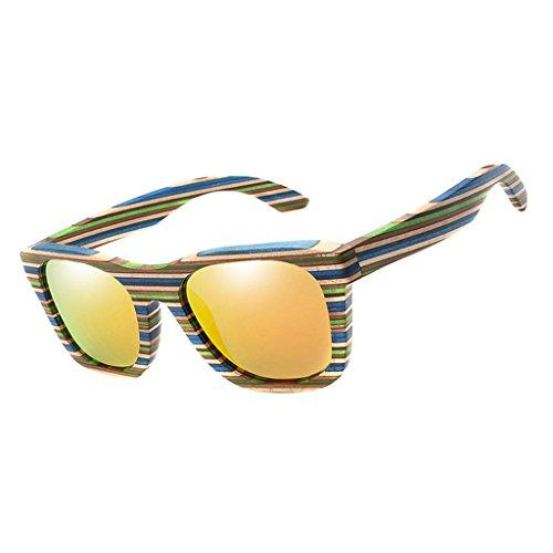 SM SunniMix Vintage Bambus Sonnenbrille Polarisiert Sonnenbrille Bambus Damen Herren Sonnebrille Herren Holz 100% UV400 Schutz Outdoor Brille - Orange