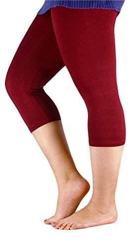 Nouveau Dames Plus Taille Corsaire Pantalons 3/4 leggings Collants Yoga Formation Gym Leggings 40-58 Wine