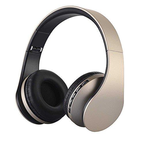 Auricular Bluetooth, EONANT 4 en 1 Auricular Inalámbrico Bluetooth Auriculares Plegables, Inalámbricos y con Cable de Doble USB, Auriculares con Radio FM Integrada, Auriculares mp3, Micrófono con Cable y Micrófono Bluetooth Auriculares Para Tablet PC Smartphones (Oro)