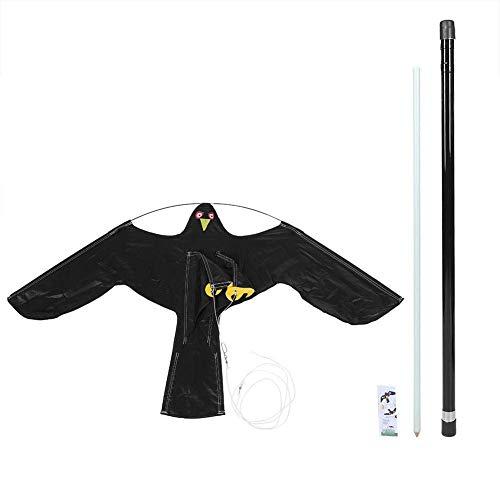 Hgzde Bird Repeller Black Flying Hawk Drachen, Große Adler Drachen Vogelscheuche Lockvogel für Farm Garden Pest Vogel Scarer Mit 7 Meter Teleskopstange, Schwarz - Garden Pest-repeller