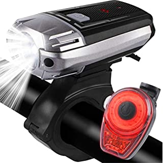 AUPERTO Bike Lights, USB Rechargeable LED Bike Light Set, Waterproof Front Front Headlight and Super Bright Back LED Tail Light Cycling Lights for Road/Mountain/ Nighttime/Power Outages