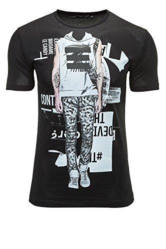 Antony Morato Herren T-Shirt Front-Print Foto-Print Nero (Col. 9000)