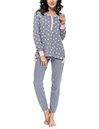 DN Nightwear - Pijama para mujer (para embarazo y lactancia), de manga larga