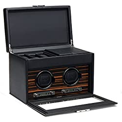 Roadster by Wolf Double 2.7 Automated Mechanical Watch Winder with Storage Cover and Travel Case