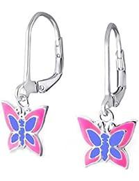 SL-Silver Ohrringe Kinderohrringe Schmetterling zwei Farben Leverback 925 Silber