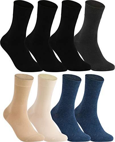 Vitasox 11120134 Damen Socken Gesundheitssocken extra weiter Schaft ohne Naht ohne Gummi 8 Paar Schwarz Anthrazit Marine Natur-Töne 35/38 - Spitze Knie Hohe Socken