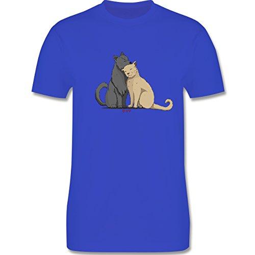 Katzen - kuschelnde Katzen - Herren Premium T-Shirt Royalblau