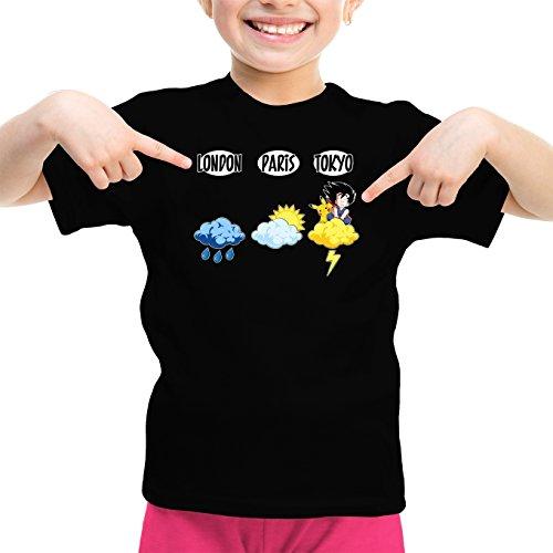 Okiwoki T-Shirt Enfant Fille Noir Dragon Ball Z - Pokémon parodique Sangoku et Pikachu : Météo Tokyo : (Parodie Dragon Ball Z - Pokémon)