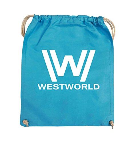Comedy Bags - WESTWORLD - LOGO - Turnbeutel - 37x46cm - Farbe: Schwarz / Silber Hellblau / Weiss