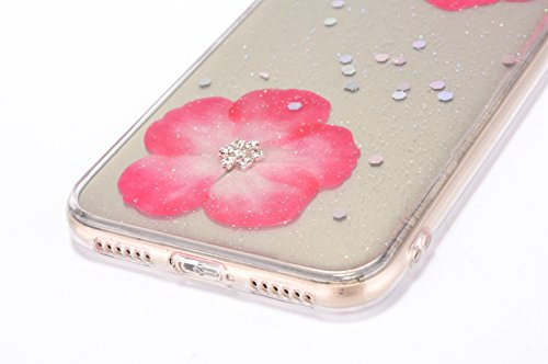 Cover iPhone X - Custodia in Glitter Silicone TPU - Surakey Belle iPhone 10 Custodia Brillantini Fiore Bling Diamante Trasparente Slim Ultra Sottile Gomma Morbida Gel Case Antigraffio Antiurto Flessib Rosa