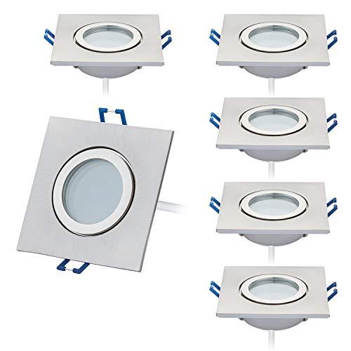 HCFEI 6er Set Ultra Flach IP44 LED Einbaustrahler Warmweiß 3000K 230V Rund Bad Einbauspots Einbauleuchten Bad und Feuchträume in Nickel Gebürstet Eckig Badleuchten,120°Abstrahlwinkel