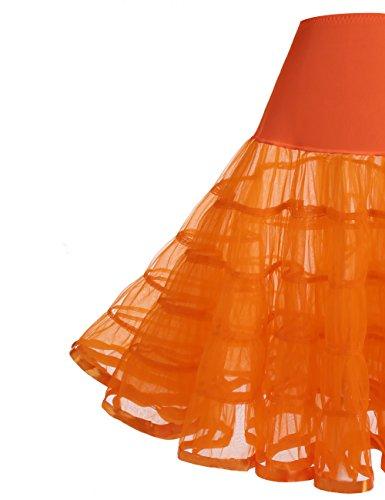 Dressystar Unterrock Petticoat Reifrock Tüll TUTU für Vintage Kleid 1950 Skirt Orange