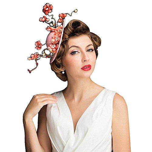 Icegrey Damen Fascinator Hut Haar Clip Brautmütze Mit Seiden Blumen Tüll Perle Haarschmuck für Kostüm (Mini Mit Hut Rosa Weißer Schleier)