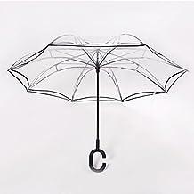 A prueba de viento reverso plegable doble capa paraguas transparente invertido y auto de pie dentro hacia fuera paraguas de protección contra la lluvia con ...