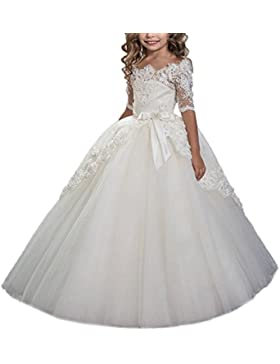 HotGirls Pizzo Corpetto Flower Girl Dress per matrimoni Abiti Prima Comunione