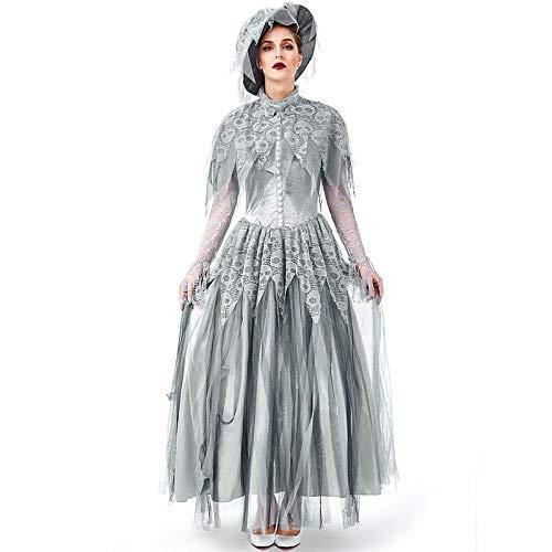 Kostüm Scary Damen - FHSIANN Erwachsene Frauen Halloween Horror Ghost Corpse Braut Kostüm Schädel Print Scary Tricking Zombdh Kleid Spitzenkleider Mit Hut Für Damen