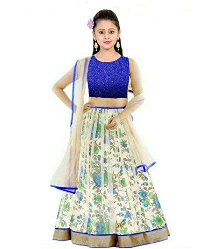 Creativeswilla Girls\' Net Blue Lehenga Choli (Kds Bluebhalpuryprintedlehenghas14-15_Free Size)