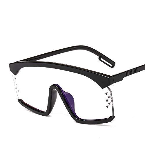 YJKHKL Neue Übergroße Quadratische Sonnenbrille Frauen Markendesigner Punk Big Frame Brille Männer Kühle Brille Bunte Brillen Reise GafasC8Schwarz Klar