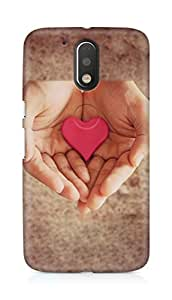 Amez designer printed 3d premium high quality back case cover for Motorola Moto G4 (Pink Heart In Hands)