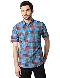Peter England Men's Checkered Slim fit Casual Shirt (PCSHCSSB733521_Blue_39.0)