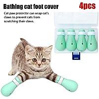 4 Unids Cubierta De Pie De Gato, Gato Ajustable Botas Antirayaduras, Cubierta De Pie De Baño De Silicona Para Mascotas, Zapatos De Protección De Patas De Gato Para El Baño En Casa Tratamiento De
