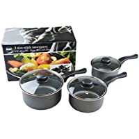 Non Stick Premium Saucepans Set Kitchen Cooking Graphite Saute Pans with Glass Lids Inner Coated 3 Sizes 16cm, 18cm & 20cm for everyday cooking suitable for all hobs