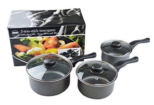 Royle – Lot de 3 casseroles anti-adhésives grises avec couvercles 16 cm, 18 cm et 20 cm