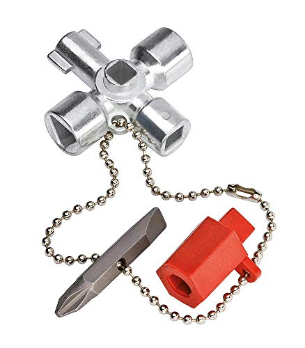 KNIPEX 00 11 02 Schaltschrank-Schlüssel für gängige Schränke und Absperrsysteme, 44 mm -