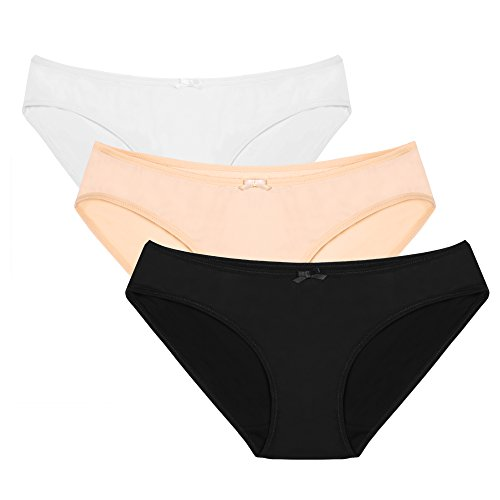 Ekouaer Women's 3 Pack Seamless Assorted Colors Hipster Panty XS-XXL