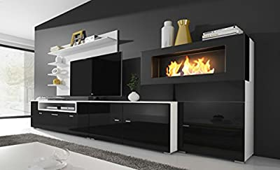 Home Innovation - Living room furniture set with bioethanol fireplace, wall unit tv, finished in matt white and black gloss lacquered. Measures: 290 x 170 x 45 cm depth