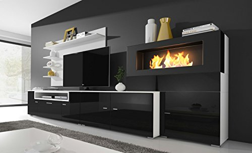 Home Innovation – Living room furniture set with bioethanol fireplace, wall unit tv, finished in matt white and black gloss lacquered. Measures: 290 x 170 x 45 cm depth