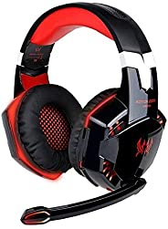Jeecoo G2000 Gaming Headset, Surround Stereo Gaming Headphones with Noise Cancelling Mic, LED Light & Soft