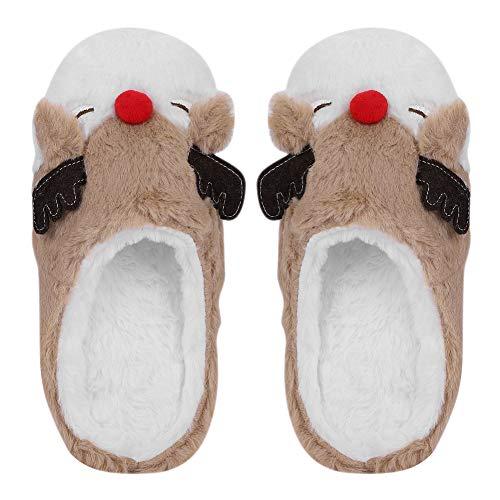 Hausschuhe Damen Frauen Winter Pantoffeln cartoon warm Weich niedlich Elch-Stil für Slippers aus Plüsch Plüschhausschuh Home Indoor atmungsaktiv Filzpantoffeln Hüttenschuh Tiere.