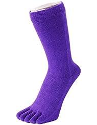 TOETOE chaussettes à doigt basiques mi mollet violettes