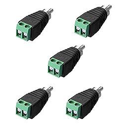 SIENOC 5 x Adapter Terminalblock > Cinch Stecker RCA Adapter DC Block Schraubanschluss 2-Pin