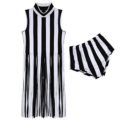 Tiaobug Damen Fransen Weste Streifen Kleid ärmellos mit Quaste Rock Hohe Taille Slip Hot Pants Jazz Tanz Kostüm Clubwear Weiß Schwarz gestreift One ()