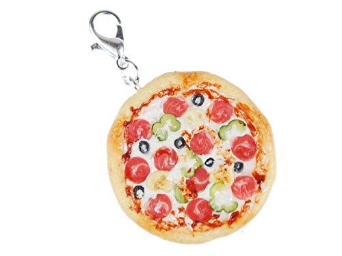 Miniblings Pizza Charm Zipper Anhänger Bettelanhänger Essen Restaurant Salami
