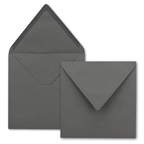 Quadratische Brief-Umschläge - Farbe Graphit - Dunkelgrau   50 Stück   155 x 155 mm   Nassklebung   Für Einladungen & Hochzeit!   Serie FarbenFroh®