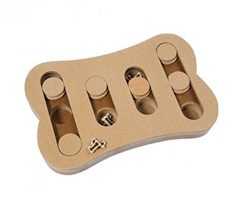 Interaktives Spiel mit Spielsteine Schiebetüren–lehrreich für Hunde, aus Holz