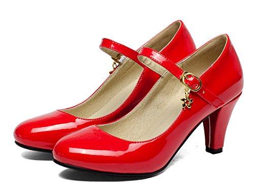 Vermelho Bombas Ye Vendas Em Vendas Com Tintas Fivela Bloco Salto Jane Mary De De Sapatos Confortável Mulheres Alto 7cm gqxdqwBU