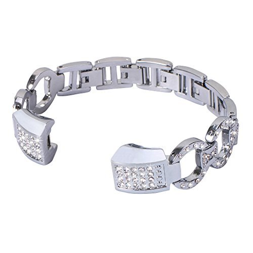 Bracelet Fitbit Alta HR, Rosa Schleife®Montre Fitbit Bracelet Femme Alta HR Argent Metal Boucle Bande avec Métallique Rhinestone Sport Straps Wristband pour Fitbit Alta/HR Fitness Tracker (No Tracker)