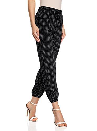 oodji Ultra Mujer Pantalones Ligeros de Viscosa con Cintura Elástica, Negro, ES 38 / S