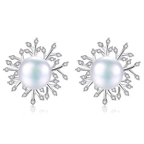J.Memi's Ohrringe Natürliche Süßwasserperle Zirkonia Für Damen 925 Sterling Silber Exquisit Stil Schmuck Jubiläums Hochzeit Geschenk,A