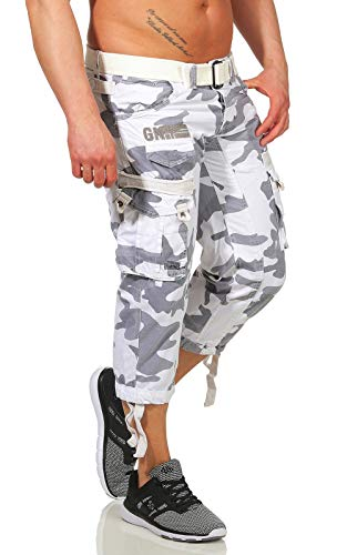 Geographical Norway Herren 3/4 Cargo Hose Panoramique Camo White L -
