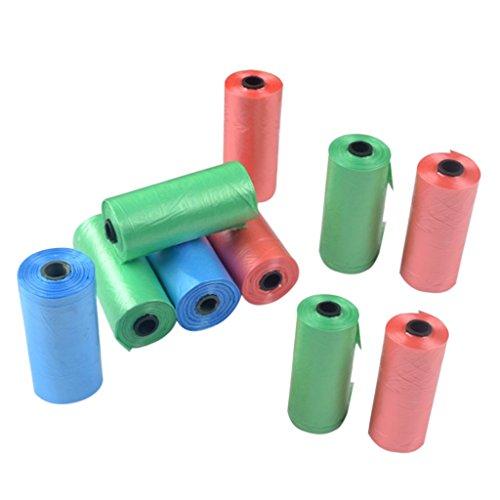 perfk 10er Rollen Hundekotbeutel Hundetüten Müllsäcke Abfallsäcke Abfallbeutel perfekte Müllentsorgung für Haushalt Garten - Farbe 02
