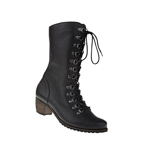VogueZone009 Damen Ziehen auf Hoher Absatz Gemischte Farbe Mitte-Spitze Stiefel, Grau, 34