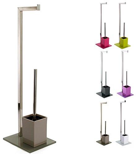 MSV Stand WC Garnitur aus Edelstahl und Glas mit herausnehmbaren Innenbehälter für die WC Bürste Braun,Taupe
